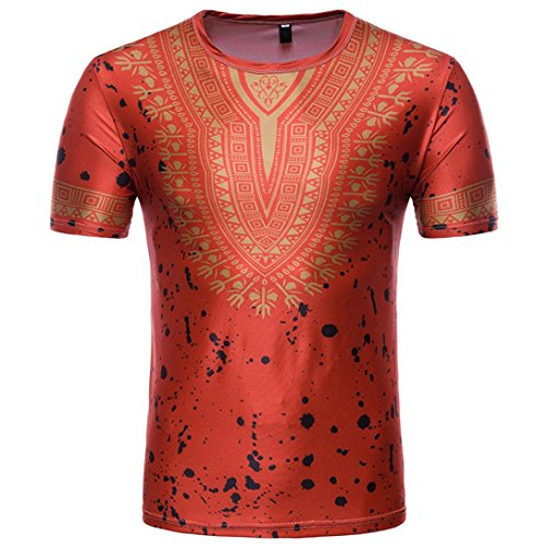 Men's Blouse, Limsea Casual African Print O Neck Pullover Long Sleeved T-Shirt Top - Circle Top Print Wrap