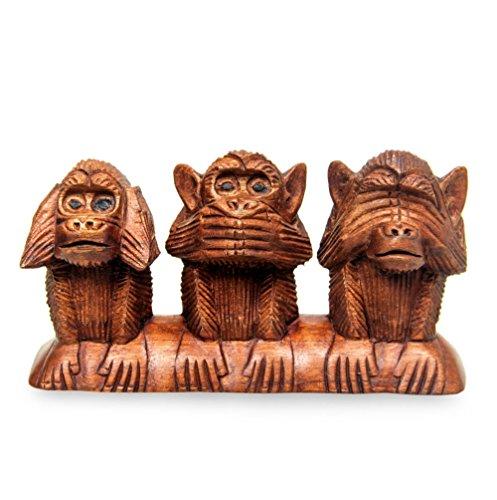 Hear No Evil Monkeys - NOVICA Hand Carved Suar Wood Monkey Proverb Sculpture, 4.5