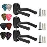 Guitar Wall Hanger Hook Holder, Fit All Size Guitar, Bass, Mandolin, Banjo, 3 Packs with 8 pcs Picks