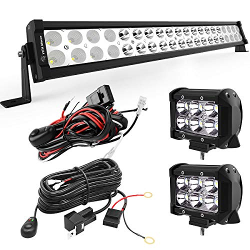 YITAMOTOR LED Light Bar 24 inches 120W Light Bar Combo & 2pc 18W Spot Pod Lights & Wiring Harnesses Compatible for Jeep, Pickup, Off Road, Truck, 4X4, ATV, Boat, Motorcycle, - Light Bar Inch 24