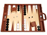 19-inch Premium Backgammon Set - Large Size - Desert Brown Board