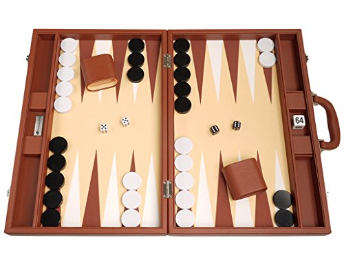 (19-inch Premium Backgammon Set - Large Size - Desert Brown Board)
