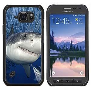 TECHCASE---Cubierta de la caja de protección para la piel dura ** Samsung Galaxy S6 Active G890A ** --Killer Shark con los pescados