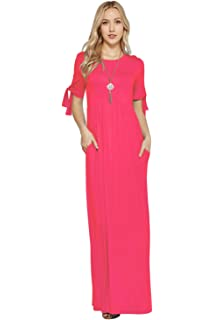 38043115169 Maxi Dresses for Women Tie Sleeve Solid Lightweight Long Rayon Spandex W  Pocket