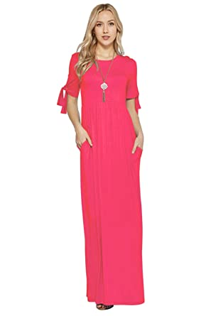 4276699d613b Maxi Dresses for Women Tie Sleeve Solid Lightweight Long Rayon Spandex  W/Pocket -Coral