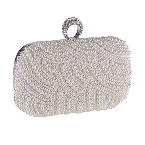 Nero sera decorazioni donna sacchetto perla frizione gioiello White borsa catena da con FUBULE PXFwzZdqw
