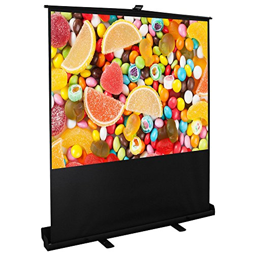 """Price comparison product image Cloud Mountain 100"""" 4:3 HD Projector Screen Portable Pull Up Floor Projector Projection Screen in Aluminium Case Easy Use Outdoor Indoor Home Theater 1.3 Gain"""