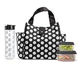 Fit & Fresh Westport - Bolsa de almuerzo con aislamiento y contenedor reutilizable a juego, pack de hielo y botella de agua Tritan de 20 onzas, color negro con doble punto