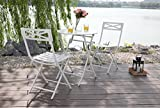 PHI VILLA White 3 Pcs Outdoor Patio Metal Folding Dining Bistro Set with 23.6″ Table and 2 x Chairs Furniture Set For Sale