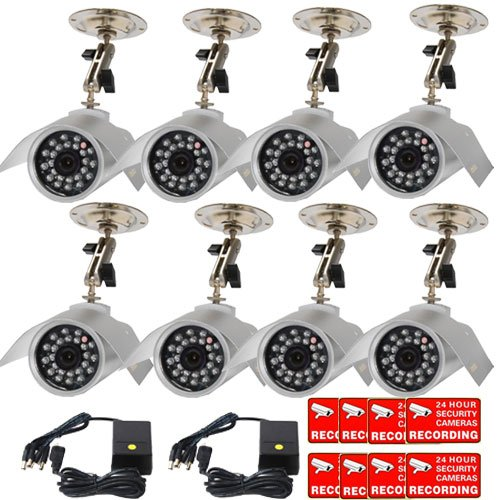 420 Tvl Ccd Camera - VideoSecu 8 CCTV Color CCD Outdoor Night Vision Infrared Home Security Cameras 420 TVL 24 IR Leds for CCTV DVR Surveillance System with Power Supplies and Bonus Security Warning Decals WAB