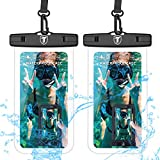 Universal Waterproof Case, 2-Pack Tekcoo IPX8 Waterproof Phone Clear Pouch Dry Bag Compatible iPhone Xs Max/Xs/XR/X/8 Plus, Galaxy S10/S10+/S10e/S9/Note 9, LG G8, Moto G7,Pixel 3A & Phones Up to 6.5'