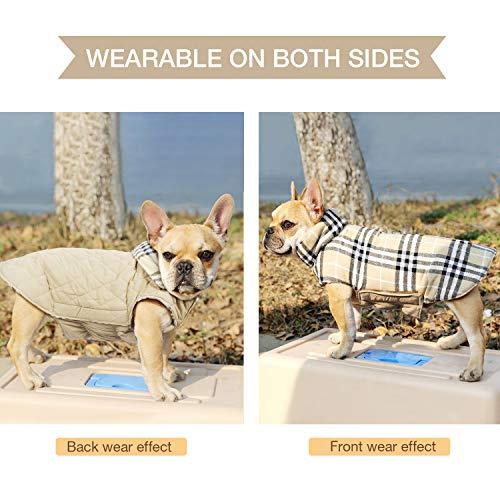 Wooce Abrigo de Tela Escocesa Reversible del otoño Abrigo de Invierno cálido y Acogedor Chaqueta Acolchada para Perros pequeños y medianos Beige-S: ...