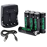 HSTEK AA Rechargeable Batteries 2600mAh (8 Packs) with Ni-MH AA USB Battery Charger