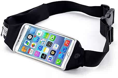 Running Belt, Beyle Fitness Fanny Pack Sports Waist Pack for Hands-Free Workout Adjustable, Water Resistant and Reflective. Easily Fits Keys, Wallet,iPhone X 6 7 8 Plus touch-screen design, Black