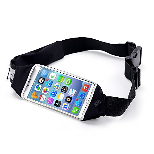 Running Belt, Beyle Fitness Fanny Pack Sports Waist Pack for Hands-Free Workout Adjustable, Water Resistant and Reflective. Easily Fits Keys, Wallet,iPhone X 6 7 8 Plus touch-screen design, Black (Soft Case Pack)