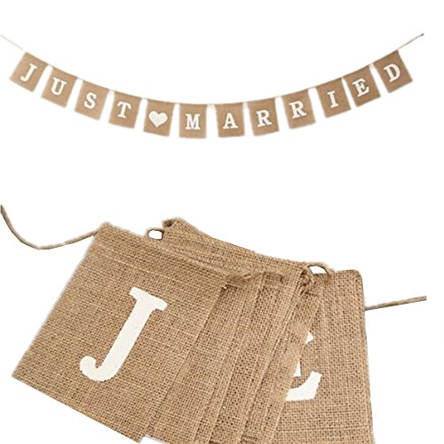 (OZXCHIXU (TM Jute Burlap Just Married Bunting Banner Vintage Hessian Flag for Wedding Party Decoration Favor)