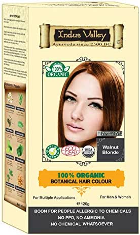 Indus Valley 100% Botanical 100% Organic Walnut Blonde Natural Hair Dye for Sensitive Skin, For Allergy Sufferers- 120 gm