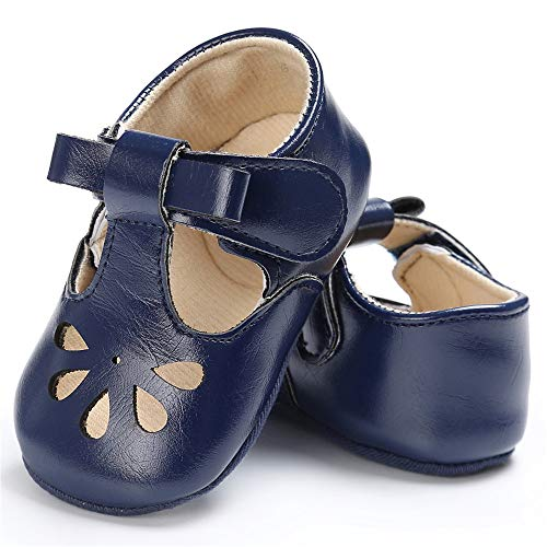 Isbasic Baby Girls Flat Shoes Toddler Soft Sole Mary Jane Princess Christening Baptism Crib Shoes