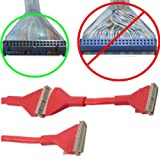 24''inch/2ft long Dual/2 device FD/Floppy/FDD Disk Drive Round/Rouned 34pin 3connector Cable/Cord/Wire {RED