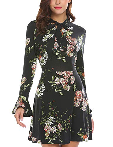 ACEVOG Women's Casual Floral Print Bell Sleeve Fit and Flare Dress(X-Large, Black)