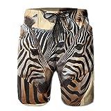Africa Animal Zebras Men's Summer Casual Swimming Shorts Beach Board Shorts