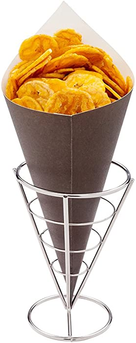 Conetek 11.5-Inch Eco-Friendly Black Finger Food Cones: Perfect for Appetizers - Food-Safe Paper Cone - Disposable and Recyclable - 100-CT - Restaurantware