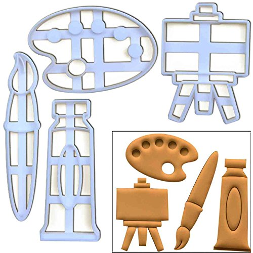 (Set of 4 Art themed cookie cutters (Paintbrush, Paint Tube, Palette, Easel Stand), 4 pc, Ideal for artist)