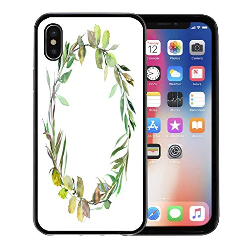 Semtomn Phone Case for Apple iPhone Xs case,Watercolor Green Leaves Wreath Leaf Boarder Simple Leafy Hand Wedding Baby Save The Date for iPhone X Case,Rubber Border Protective Case,Black