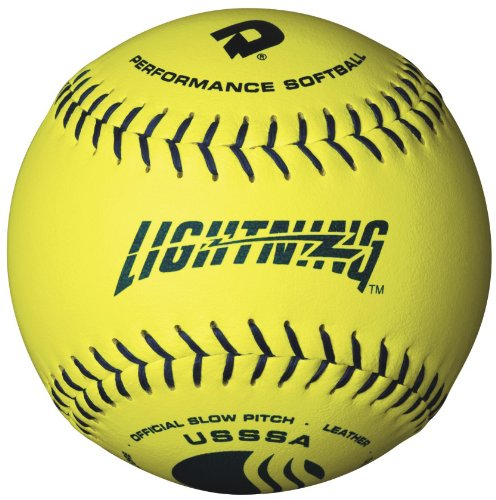 DeMarini Lightning USSSA Men's Classis C Series Slowpitch Synthetic Leather Softball (12-Pack), 12-Inch, Optic Yellow by DeMarini