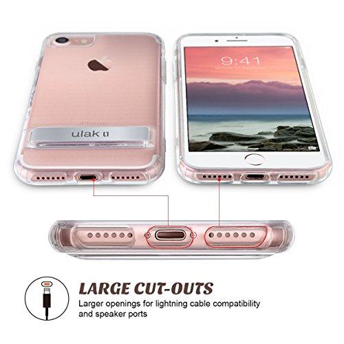 iPhone 7 Hülle, ULAK iPhone 6 Hülle Case Weiche Silikon TPU Schutzhülle Stoßdämpfung Bumper und Anti-Kratz PC Zurück für Apple iPhone 6/6s/7 4.7 Zoll (Kristall Klar)