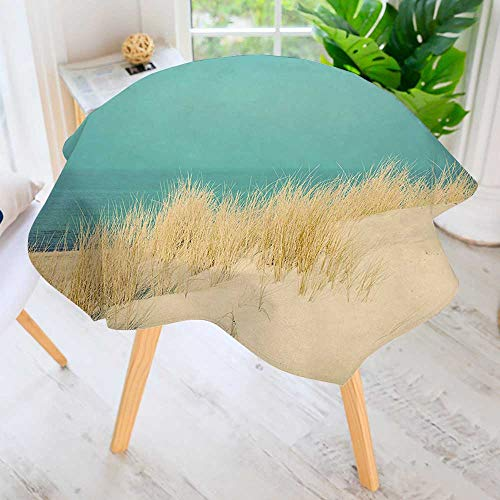 UHOO2018 Easy-Care Cloth Tablecloth Round-Calm Sunny Beach Scenery Sand Dunes Morning in Baltic Sea Tranquil Picture Cream Great for Buffet Table, Parties, Holiday Dinner & More 71