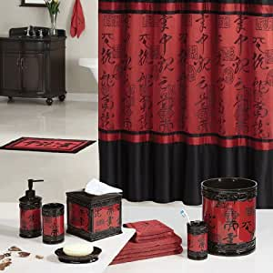 Red black asian designed bathroom polyester for Red and black bathroom accessories sets