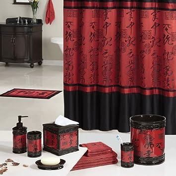 Design asiatique Noir/rouge-Rideau de douche-Polyester-salle de bain ...