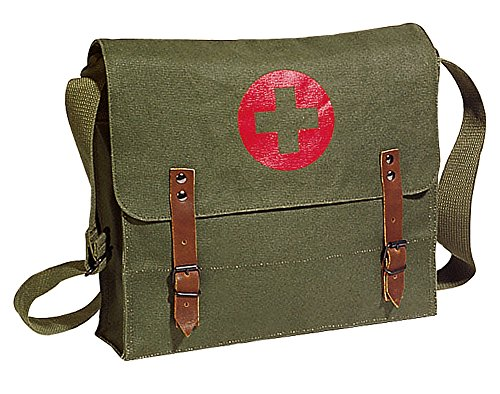 OD Vintage Army NATO Medic Shoulder Messenger Bag w/ Red Cross by Rothco