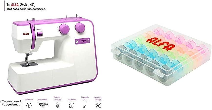 Alfa Máquina de Coser, Morado, 30 x 19 x 41 cm + 6050-Caja 25 canillas Colores, Multicolor: Amazon.es: Hogar