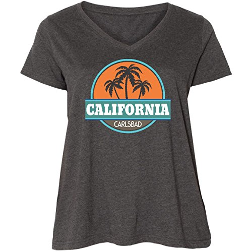 inktastic Carlsbad Ladies Curvy V-Neck Tee 3 (22/24) Smoke Grey 23829