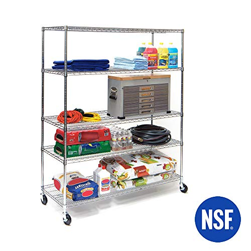 Seville Classics UltraDurable Commercial-Grade 5-Tier NSF-Certified Steel Wire Shelving with Wheels 60