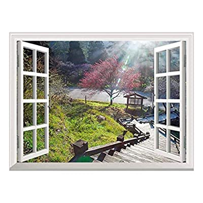 Modern White Window Looking Down Into a Stairway That Leads to a Japanese Garden with a Kiosk - Wall Mural, Removable Sticker, Home Decor - 24x32 inches