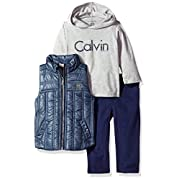 Calvin Klein Baby Boys' 3 Pc Vest Set, Blue/Grey/Navy, 24M