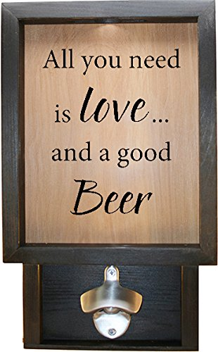 Wooden Shadow Box Bottle Cap Holder 9x15 with Bottle Opener - All You Need Is Love And A Good Beer (Ebony - Frame Bottle Cap