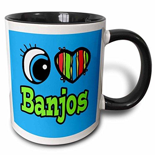 3dRose Dooni Designs Eye Heart I Love Designs - Bright Eye Heart I Love Banjos - 15oz Two-Tone Black Mug (mug_105736_9)