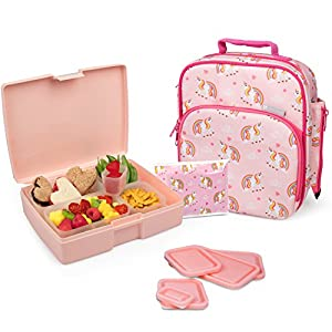 Bentology Lunch Bag and Box Set – Includes Insulated Bag with Handle, Bento Box, 5 Containers and Ice Pack (Unicorn)
