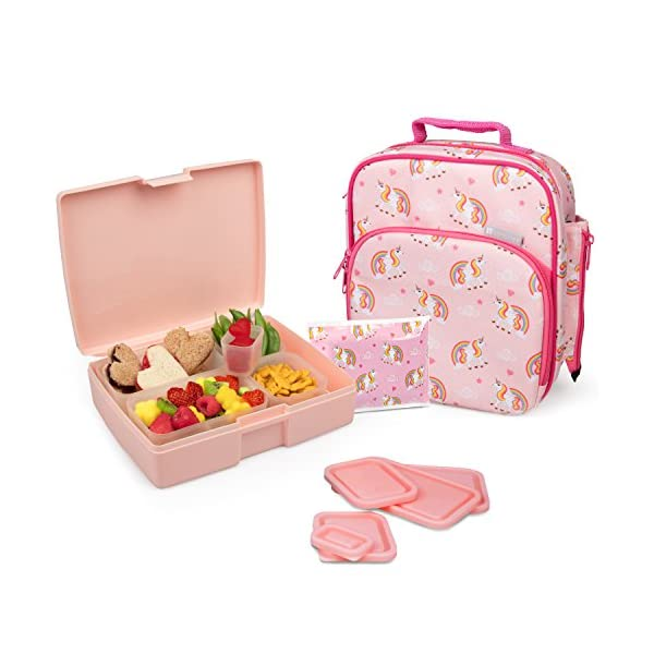 Bentology Lunch Bag and Box Set for Girls, 9 Pieces Total - Kids Insulated Lunchbox Tote, Bento Box, 5 Containers and… 3