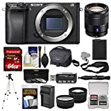wi f - Sony Alpha A6300 4K Wi-Fi Digital Camera Body (Black) with 16-70mm f/4 Lens + 64GB Card + Case + Battery & Charger + Tripod + Tele/Wide Lens Kit