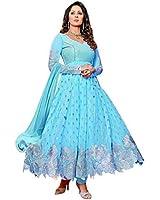 VIDHIDEV CREATION Women's Women Skyblue Anarkali Salwar Suit Dress Material