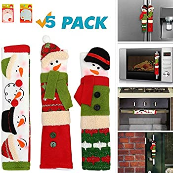 SYITCUN Snowman Refrigerator Handle Covers Set - Kitchen Appliance Refrigerator Handle Door Covers with Cute Animals Sticky Notes - Christmas Decoration Ideas