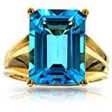 10k Yellow Gold Large Rectangular Blue Topaz Gemstone Ring, Birthstone of December.