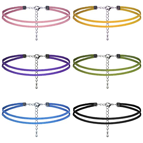[Dream Catcher 6 Pcs Two Strips Multicolor Leather Adjustable Choker Necklace for Women and Girls] (Best College Halloween Outfits)