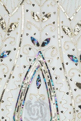 Flapper Bianco Donne 1920s Vestito Sera Anni Maniche Vestito Paillette ArtiDeco da Gatsby Dress Gatsby Senza Dress Abito 1920s 20 Frange Vestito Donna Impreziosito EwBzqS