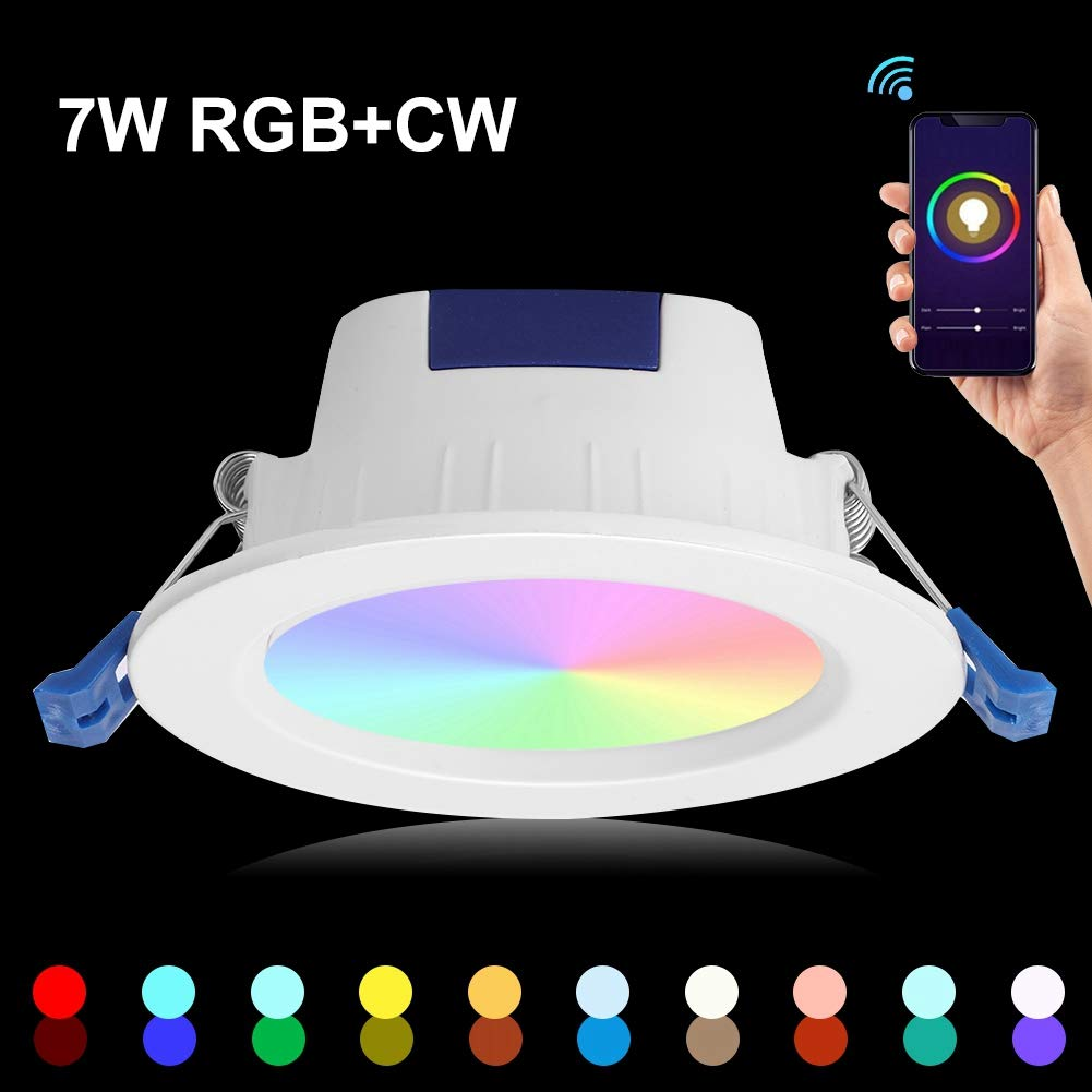 CW WiFi Smart Embedded Smartphone Control de Voz con funci/ón de Memoria L/ámpara de Techo Compatible para IFTTT Luz empotrada LED Tmall Genie AC85-265V RGB
